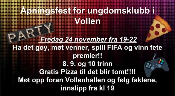 Åpningsfest for ungdomsklubb i Vollen
